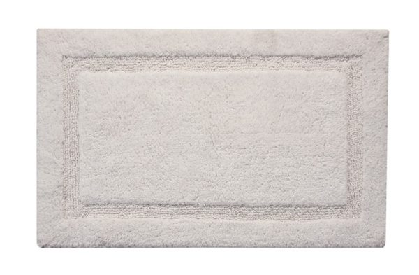 Saffron Fabs Bath Rug Cotton, 50x30 In, Anti-Skid, White, Textured Border, Washable, Regency