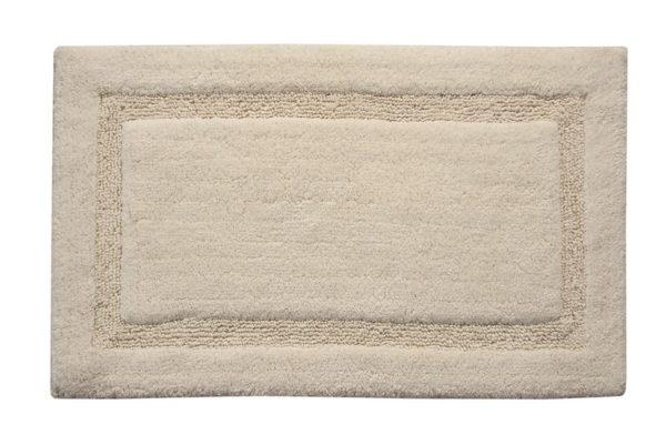 Saffron Fabs Bath Rug Cotton, 50x30 In, Anti-Skid, Ivory, Textured Border, Washable, Regency