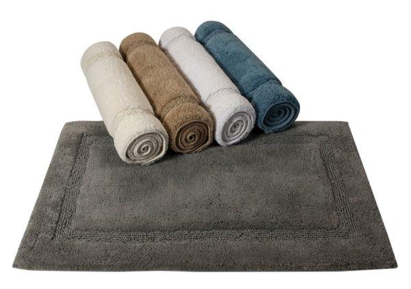 Saffron Fabs Bath Rug Cotton, 50x30 In, Anti-Skid, Gray, Textured Border, Washable, Regency