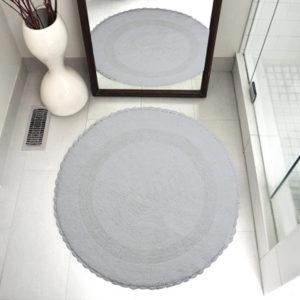 Saffron Fabs Bath Rug Cotton 36 Inch Round, Reversible, White, Crochet Lace Border, Washable