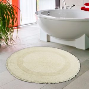 Saffron Fabs Bath Rug Cotton 36 Inch Round, Reversible, Ivory, Crochet Lace Border, Washable