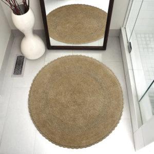 Saffron Fabs Bath Rug Cotton 36 Inch Round, Reversible, Beige, Crochet Lace Border, Washable