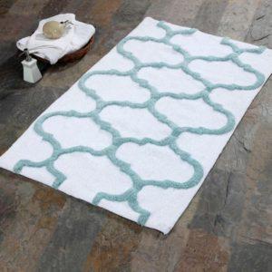 Saffron Fabs Bath Rug Cotton, 34x21 In, Anti-Skid, White/Arctic Blue, Geometric, Washable
