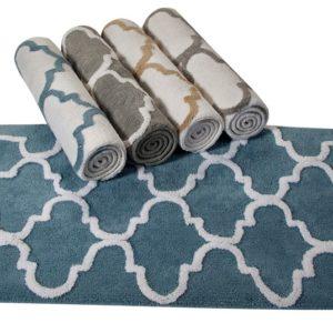 Saffron Fabs Bath Rug Cotton, 34x21 In, Anti-Skid, Gray/White, Geometric Pattern, Washable
