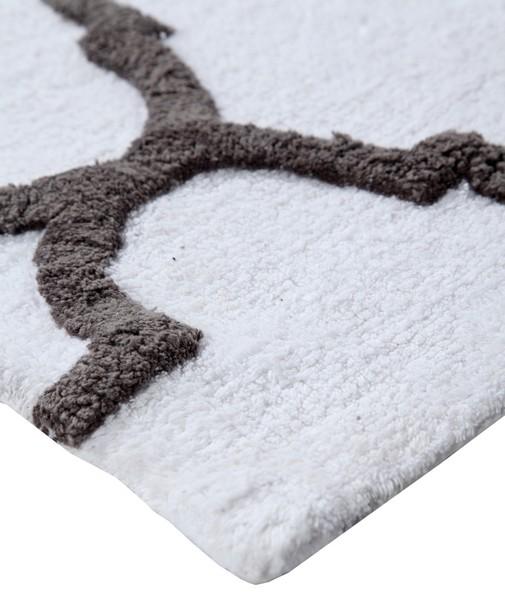 Saffron Fabs Bath Rug Cotton, 50x30 In, Anti-Skid, White/Gray, Geometric Pattern, Washable