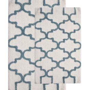 Saffron Fabs 2 Pc Bath Rug Set, Cotton, 24x17 and 34x21, Anti-Skid, White/Arctic Blue