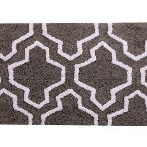Saffron Fabs Bath Rug Cotton, 36x24, Anti-Skid, Gray/White, Geometric, Washable, Quatrefoil