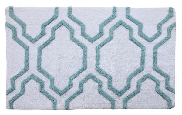 Saffron Fabs Bath Rug Cotton, 50x30, Anti-Skid, White/Arctic Blue ,Washable Quatrefoil