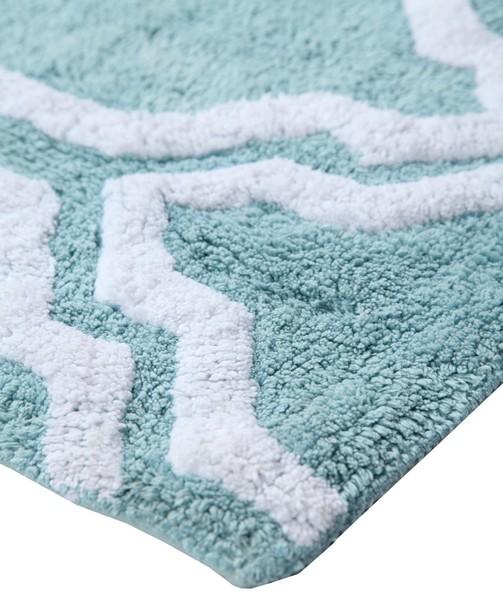 Saffron Fabs Bath Rug Cotton, 50x30, Anti-Skid, Arctic Blue/White ,Washable Quatrefoil