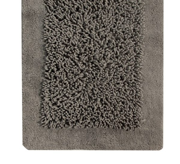 Saffron Fabs Bath Rug, Cotton and Chenille, 34x21 In, Anti-Skid, Gray, Long Noodle Loops