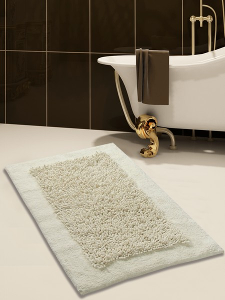 Saffron Fabs Bath Rug, Cotton and Chenille, 34x21 In, Anti-Skid, Ivory, Long Noodle Loops