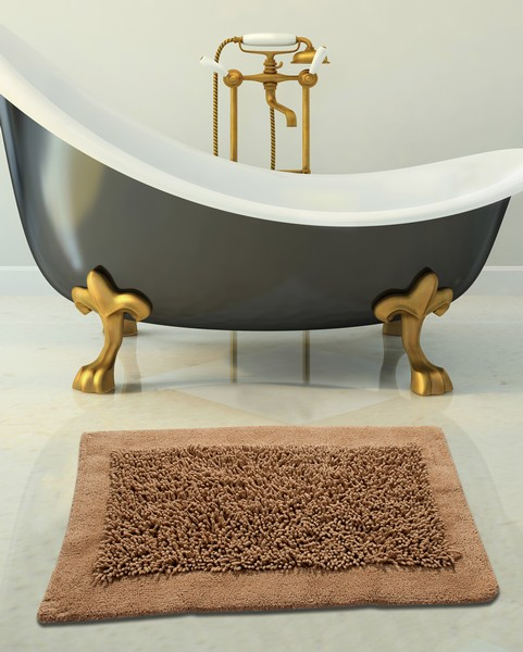 Saffron Fabs Bath Rug, Cotton and Chenille, 34x21 In, Anti-Skid, Beige, Long Noodle Loops