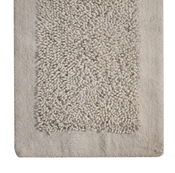 Saffron Fabs Bath Rug, Cotton and Chenille, 50x30 In, Anti-Skid, White, Long Noodle Loops