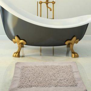 Saffron Fabs 2 Pc. Bath Rug Set, Cotton/Chenille, 24x17 and 34x21, Anti-Skid, White, Noodles