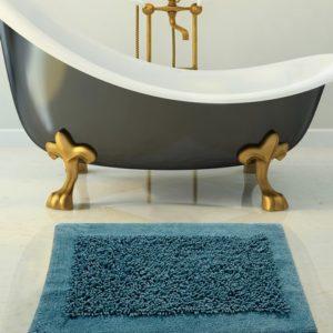 Saffron Fabs 2 Pc. Bath Rug Set, Cotton/Chenille, 24x17 and 34x21, Anti-Skid, Blue, Noodles