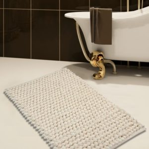 Saffron Fabs Bath Rug Cotton and Microfiber, 34x21 In, Round Loop Bubbles, Anti-Skid, Ivory