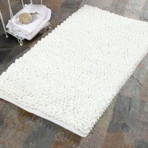 Saffron Fabs Bath Rug Cotton and Microfiber, 36x24 In, Round Loop Bubbles, Anti-Skid, White