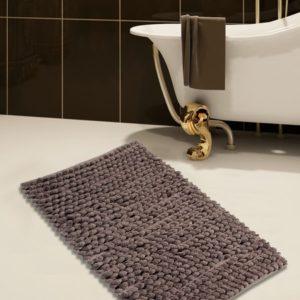 Saffron Fabs Bath Rug Cotton and Microfiber, 36x24 In, Round Loop Bubbles, Anti-Skid, Gray