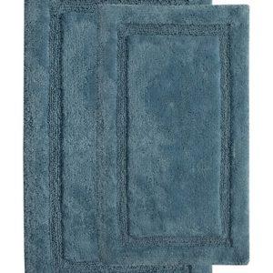 Saffron Fabs 2 Pc. Bath Rug Set, Cotton, 34x21 and 36x24, Anti-Skid Arctic Blue, Regency
