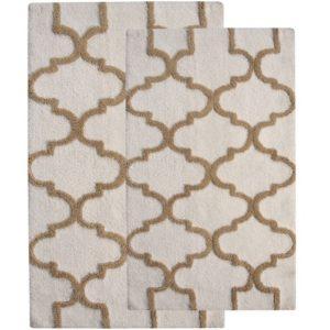 Saffron Fabs 2 Pc Bath Rug Set, Cotton, 34x21 and 36x24, Anti-Skid, White/Beige, Geometric