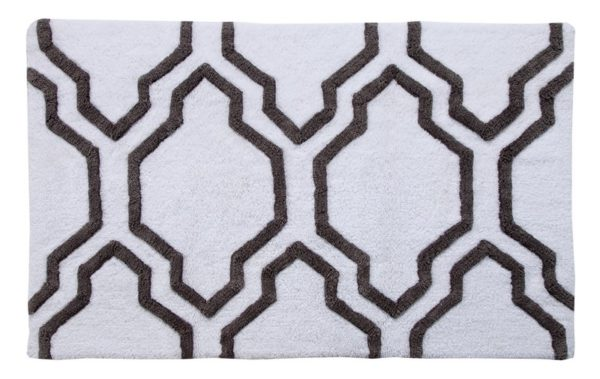Saffron Fabs 2 Pc Bath Rug Set, Cotton, 34x21 and 36x24, Anti-Skid, White/Gray, Quatrefoil