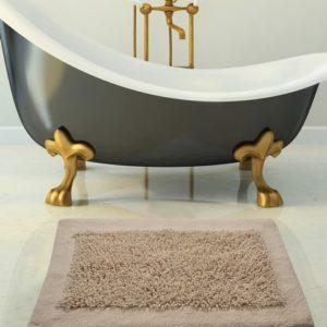 Saffron Fabs 2 Pc. Bath Rug Set, Cotton/Chenille, 34x21 and 36x24, Anti-Skid, Ivory, Noodles