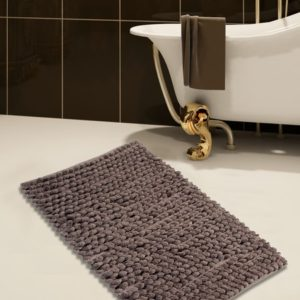 Saffron Fabs 2 Pc. Bath Rug Set, Microfiber, 34x21 and 36x24, Bubbles, Anti-Skid, Gray