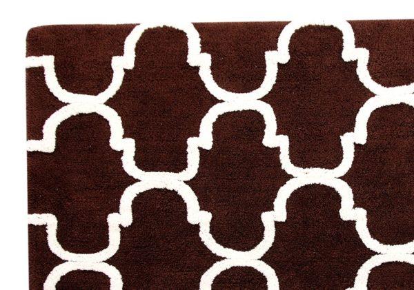 Saffron Fabs Bath Rug Cotton, 50x30 In, Anti-Skid, Chocolate/Ivory, Geometric, Washable,