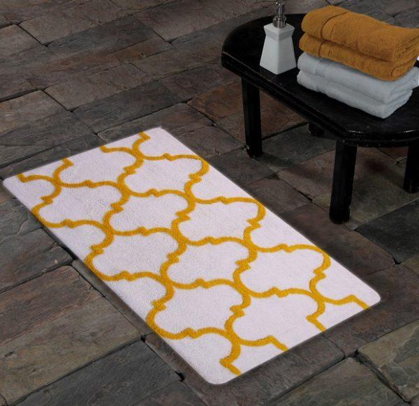 Saffron Fabs Bath Rug Cotton, 50x30 In, Anti-Skid, White/Yellow, Geometric Pattern, Washable