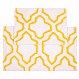 Saffron Fabs 2 Pc Bath Rug Set, Cotton, 24x17 and 34x21, Anti-Skid, White/Yellow, Quatrefoil