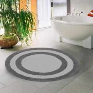 Saffron Fabs Bath Rug Cotton 36 Inch Round, Reversible, Gray/White, Machine Washable