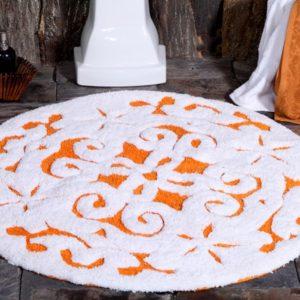 Saffron Fabs Bath Rug Cotton, 36 Inch Round, Damask, Anti-Skid, Orange/White, Washable