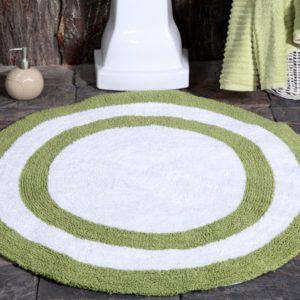 Saffron Fabs Bath Rug Cotton 36 Inch Round, Reversible, Sage Green/White, Machine Washable