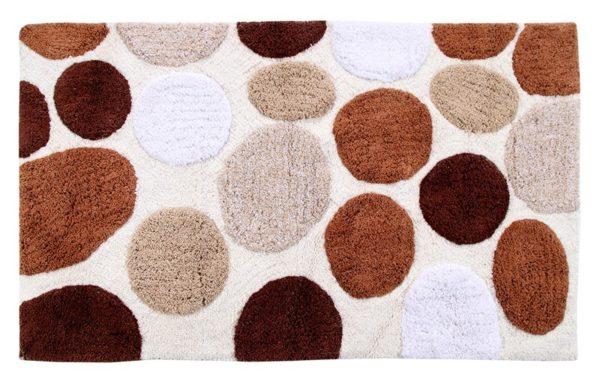 Saffron Fabs Bath Rug Cotton, 50x30 In, Anti-Skid, Brorwn Pebble Stone Pattern, Washable