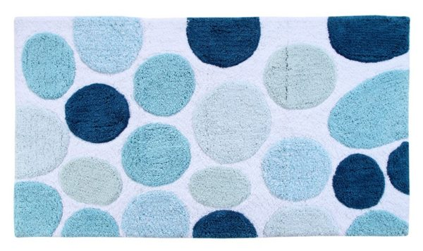Saffron Fabs Bath Rug Cotton, 50x30 In, Anti-Skid, Blue Pebble Stone Pattern, Washable