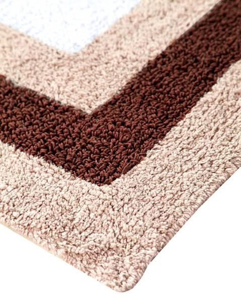 Saffron Fabs Bath Rug Cotton, 50x30 Inch, Reversible, Brown, Race Track Pattern, Washable