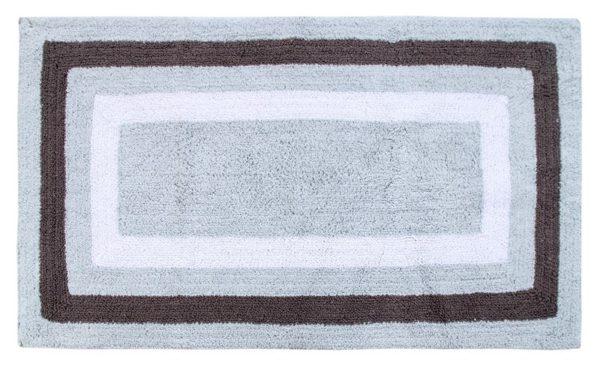 Saffron Fabs Bath Rug Cotton, 50x30 Inch, Reversible, Gray, Race Track Pattern, Washable