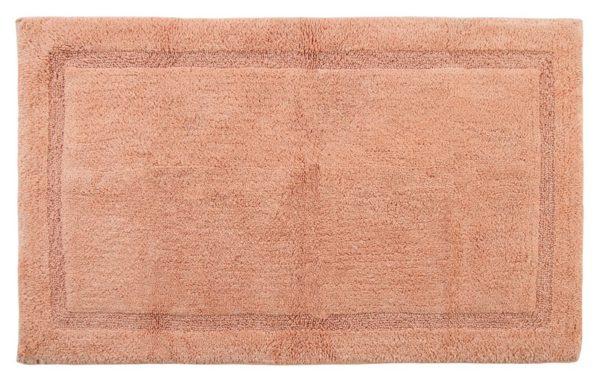 Saffron Fabs Bath Rug Cotton, 50x30 In, Anti-Skid, Coral, Textured Border, Washable, Regency
