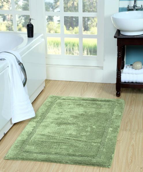 Saffron Fabs Bath Rug Cotton, 50x30 In, Anti-Skid, Sage Green, Washable, Regency