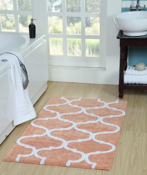 Saffron Fabs Bath Rug Cotton, 50x30 In, Anti-Skid, Coral/White, Geometric Pattern, Washable