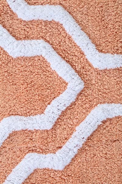 Saffron Fabs Bath Rug Cotton, 50x30, Anti-Skid, Coral/White, Geometric, Washable, Quatrefoil