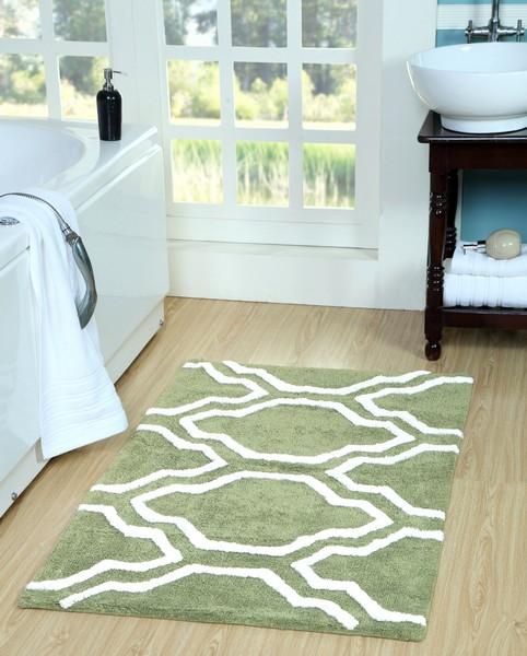 Saffron Fabs Bath Rug Cotton, 50x30, Anti-Skid, Sage Green/White, Washable Quatrefoil