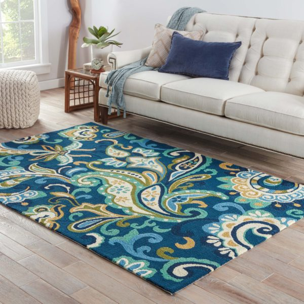 Jaipur Living Calico Indoor/ Outdoor Floral Blue/ Green Area Rug (2'X3')