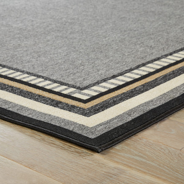 """Jaipur Living Matted Indoor/ Outdoor Bordered Gray/ Black Area Rug (2'X3'7"""")"""