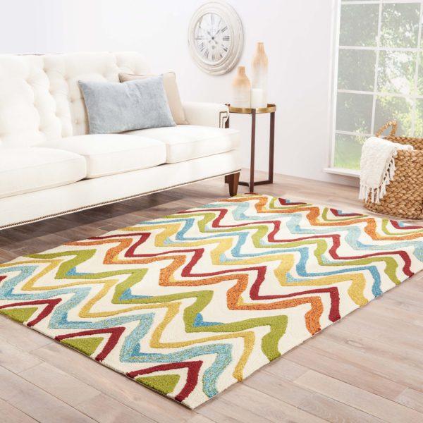 Jaipur Living Bahia Indoor/ Outdoor Chevron White/ Multicolor Area Rug (2'X3')