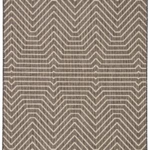 Jaipur Living Prima Indoor/ Outdoor Geometric Dark Gray/ Cream Area Rug (2'X3')
