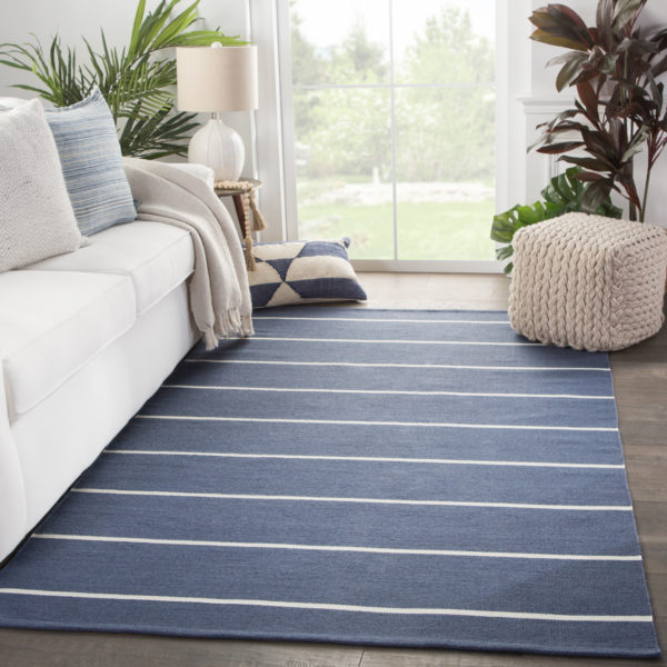 Jaipur Living Corbina Indoor/ Outdoor Stripes Dark Blue/ Ivory Area Rug (2'X3')