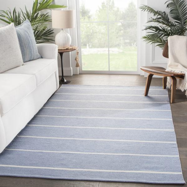 Jaipur Living Corbina Indoor/ Outdoor Stripes Blue/ Ivory Area Rug (2'X3')