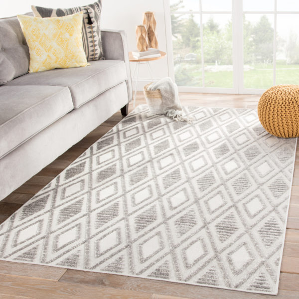 Jaipur Living Meira Indoor/ Outdoor Trellis Gray/ White Area Rug (2'X3')