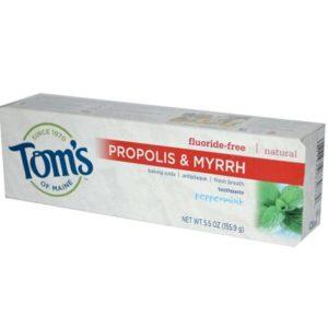 Tom's Of Maine Peppermint Fluoride Free with Propolis & Myrrh Toothpaste (6x5.5 Oz)